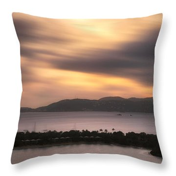 Throw Pillow featuring the photograph Sunset Over St. John And St. Thomas Panoramic by Adam Romanowicz
