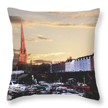 Throw Pillow featuring the photograph Sunset Over St Mary Redcliffe Bristol by Terri Waters