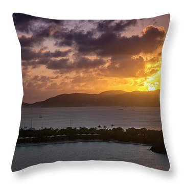 Throw Pillow featuring the photograph Sunset Over St. Thomas by Adam Romanowicz