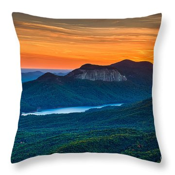 Sunset Over Table Rock From Caesars Head State Park South Carolina Throw Pillow