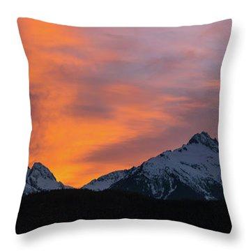 Sunset Over Tantalus Range Panorama Throw Pillow