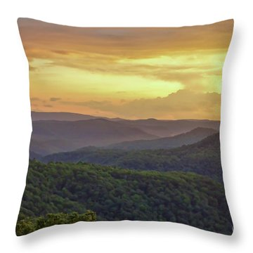 Throw Pillow featuring the photograph Sunset Over The Bluestone Gorge - Pipestem State Park by Kerri Farley
