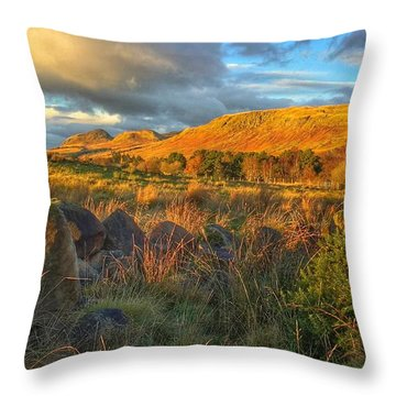 Sunset Over The Campsie Fells Throw Pillow by RKAB Works
