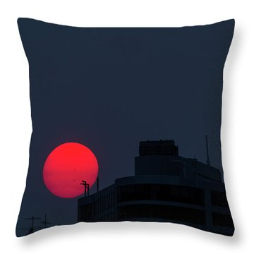 Sunset Over The City Of Portland Oregon Throw Pillow