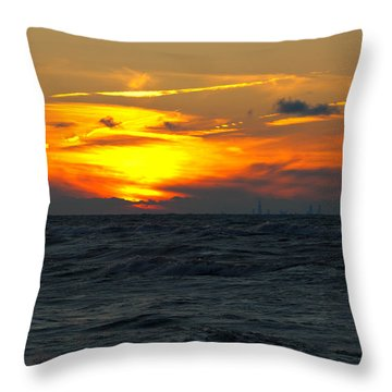 Sunset Over The City Throw Pillow
