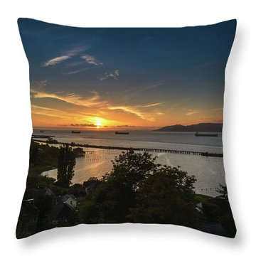 Sunset Over The Columbia River Throw Pillow by Joe Hudspeth