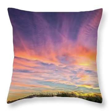 Sunset Over The Dunes Throw Pillow by Vivian Krug Cotton