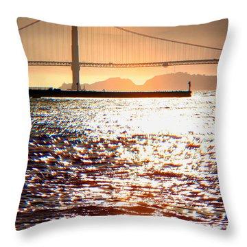 Sunset Over The Golden Gate Bridge Throw Pillow by Wernher Krutein