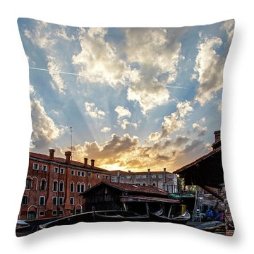 Sunset Over The Gondola Shop In Venice Throw Pillow by Jean Haynes