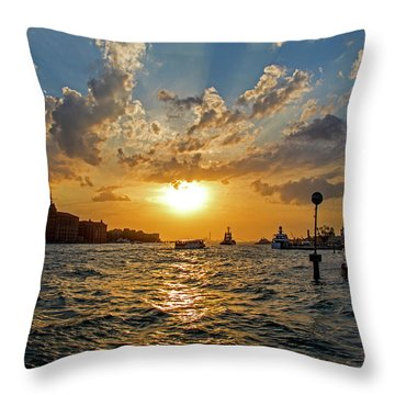 Sunset Over The Grand Canal In Venice Throw Pillow by Jean Haynes