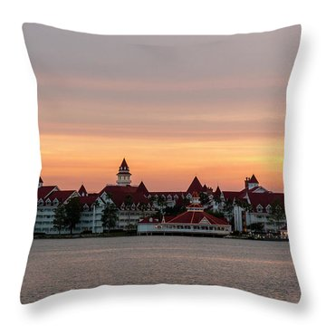 Sunset Over The Grand Floridian Throw Pillow