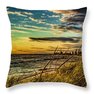 Sunset Over The Great Lake Throw Pillow