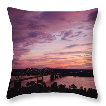 Sunset Over The I40 Bridge In Memphis Tennessee  Throw Pillow