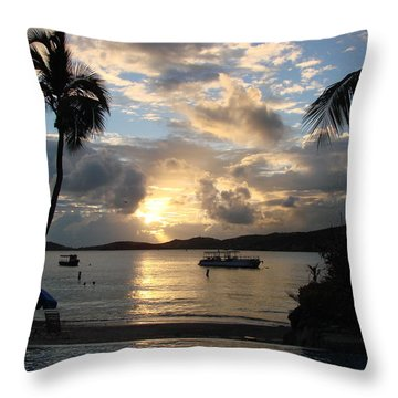 Sunset Over The Inifinity Pool At Frenchman's Cove In St. Thomas Throw Pillow by Margaret Bobb