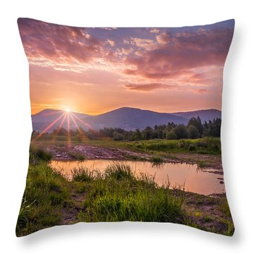 Sunrise Over The Little Beskids Throw Pillow