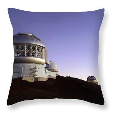 Sunset Over The Mauna Kea Observatories On Kona Throw Pillow