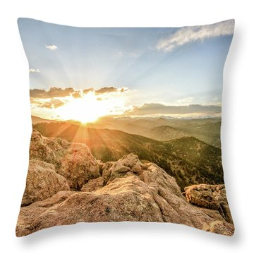 Sunset Over The Mountains Of Flaggstaff Road In Boulder, Colorad Throw Pillow by Peter Ciro