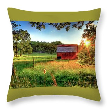 Sunset Over The Old Barn Throw Pillow