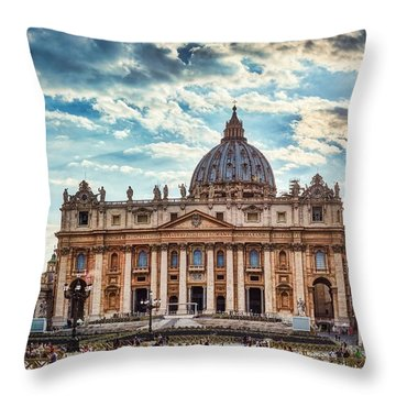 Sunset Over The Papal Basilica Of Saint Peter Throw Pillow
