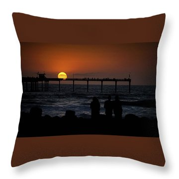 Throw Pillow featuring the photograph Sunset Over The Pier by Ryan Smith