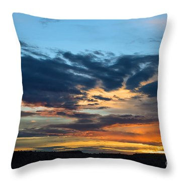 Sunset Over The Plains Of The Texas Panhandle 1 Throw Pillow by MaryJane Armstrong