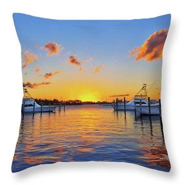 Sunset Over The Sailfish Marina In Riviera Beach Florida Throw Pillow