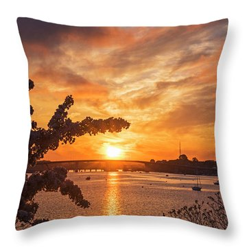 Sunset Over The Salem Beverly Bridge From The Salem Willows Salem Ma Throw Pillow
