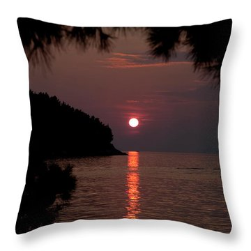 Sunset Over The Sea - Croatia Throw Pillow