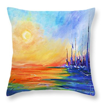 Throw Pillow featuring the painting Sunset Over The Sea by AmaS Art