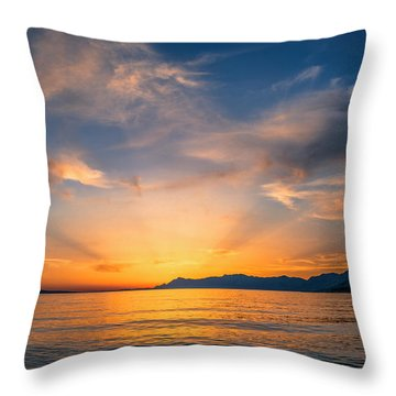 Sunset Over The Sea Throw Pillow by Lana Enderle