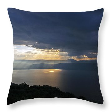 Sunset Over The Sea Of Galilee Throw Pillow by Dubi Roman