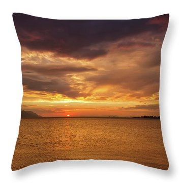 Sunset Over The Sea, Opuzen, Croatia Throw Pillow by Elenarts - Elena Duvernay photo