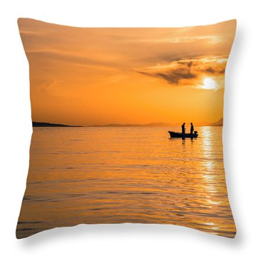 Sunset Over The Sea With Fishing Boat Throw Pillow by Lana Enderle