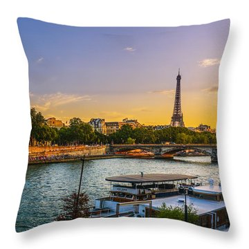 Sunset Over The Seine In Paris Throw Pillow