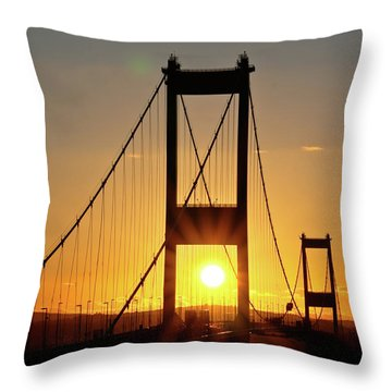 Sunset Over The Severn Throw Pillow by Brian Roscorla
