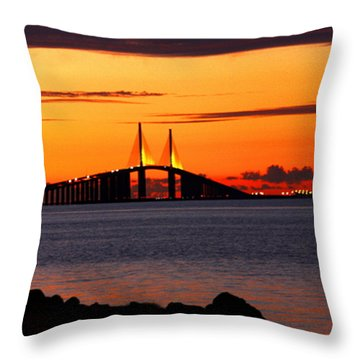 Sunset Over The Skyway Bridge Throw Pillow