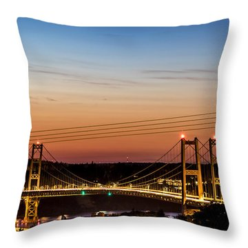 Sunset Over The Tacoma Narrows Bridges Throw Pillow