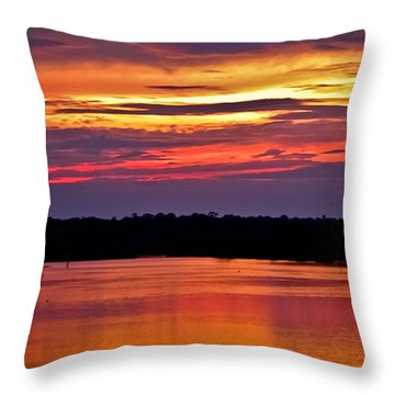 Sunset Over The Tomoka Throw Pillow by DigiArt Diaries by Vicky B Fuller