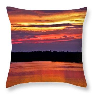 Sunset Over The Tomoka Throw Pillow