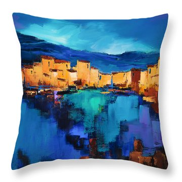 Sunset Over The Village 3 By Elise Palmigiani Throw Pillow by Elise Palmigiani