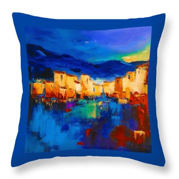 Sunset Over The Village Throw Pillow by Elise Palmigiani