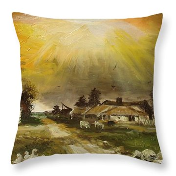 Throw Pillow featuring the painting Sunset Over The Village by Sorin Apostolescu