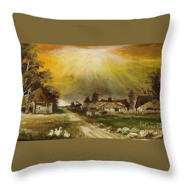 Sunset Over The Village Throw Pillow