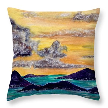 Sunset Over The Virgin Islands Throw Pillow
