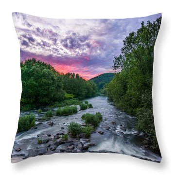 Sunset Over The Vistula In The Silesian Beskids Throw Pillow