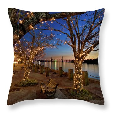 Sunset Over The Wilmington Waterfront In North Carolina, Usa Throw Pillow