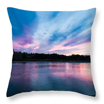 Sunset Over The Yellowstone Throw Pillow