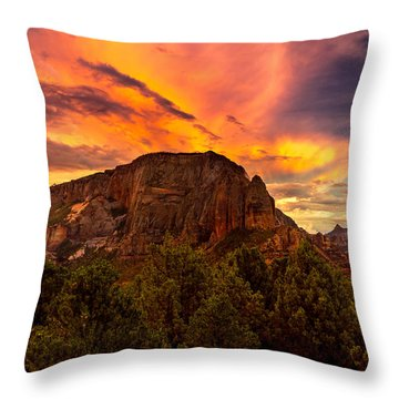 Sunset Over Timber Top Mountain Throw Pillow