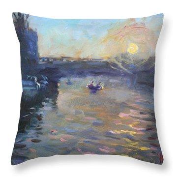 Sunset Over Tonawanda Canal  Throw Pillow