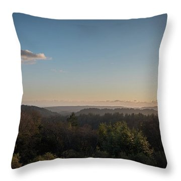 Sunset Over Top Of Dense Forest Throw Pillow